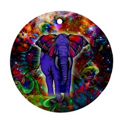 Abstract Elephant With Butterfly Ears Colorful Galaxy Round Ornament (Two Sides)