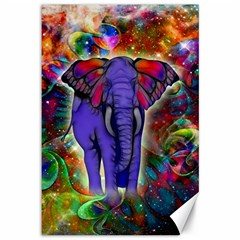 Abstract Elephant With Butterfly Ears Colorful Galaxy Canvas 12  x 18