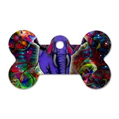 Abstract Elephant With Butterfly Ears Colorful Galaxy Dog Tag Bone (One Side)
