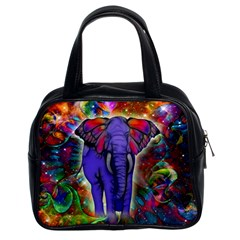 Abstract Elephant With Butterfly Ears Colorful Galaxy Classic Handbags (2 Sides)