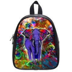 Abstract Elephant With Butterfly Ears Colorful Galaxy School Bags (small)