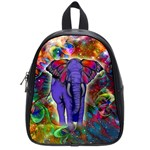 Abstract Elephant With Butterfly Ears Colorful Galaxy School Bags (Small)  Front