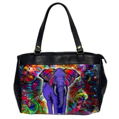 Abstract Elephant With Butterfly Ears Colorful Galaxy Office Handbags (2 Sides)