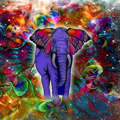 Abstract Elephant With Butterfly Ears Colorful Galaxy Magic Photo Cubes