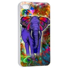 Abstract Elephant With Butterfly Ears Colorful Galaxy Apple iPhone 4/4s Seamless Case (White)