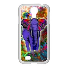 Abstract Elephant With Butterfly Ears Colorful Galaxy Samsung GALAXY S4 I9500/ I9505 Case (White)