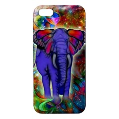 Abstract Elephant With Butterfly Ears Colorful Galaxy iPhone 5S/ SE Premium Hardshell Case