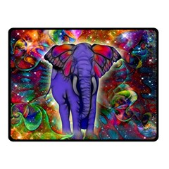 Abstract Elephant With Butterfly Ears Colorful Galaxy Double Sided Fleece Blanket (Small)