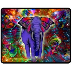 Abstract Elephant With Butterfly Ears Colorful Galaxy Double Sided Fleece Blanket (Medium)
