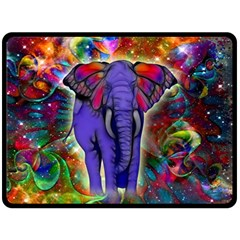 Abstract Elephant With Butterfly Ears Colorful Galaxy Double Sided Fleece Blanket (Large)