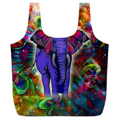 Abstract Elephant With Butterfly Ears Colorful Galaxy Full Print Recycle Bags (L)