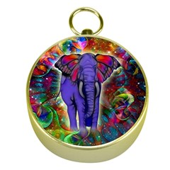 Abstract Elephant With Butterfly Ears Colorful Galaxy Gold Compasses