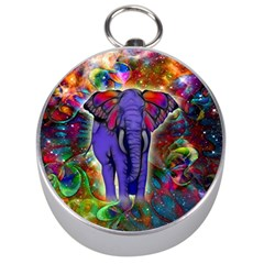 Abstract Elephant With Butterfly Ears Colorful Galaxy Silver Compasses