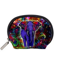 Abstract Elephant With Butterfly Ears Colorful Galaxy Accessory Pouches (small)