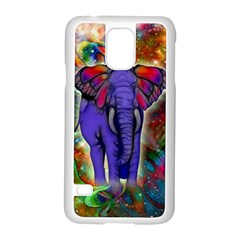 Abstract Elephant With Butterfly Ears Colorful Galaxy Samsung Galaxy S5 Case (white)