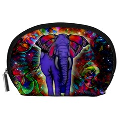 Abstract Elephant With Butterfly Ears Colorful Galaxy Accessory Pouches (large)
