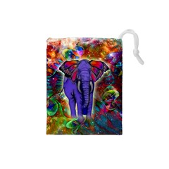 Abstract Elephant With Butterfly Ears Colorful Galaxy Drawstring Pouches (small)
