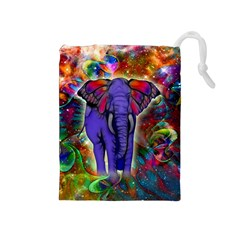 Abstract Elephant With Butterfly Ears Colorful Galaxy Drawstring Pouches (medium)