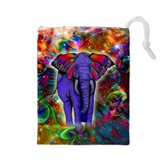 Abstract Elephant With Butterfly Ears Colorful Galaxy Drawstring Pouches (large)