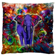 Abstract Elephant With Butterfly Ears Colorful Galaxy Large Flano Cushion Case (two Sides)