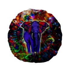 Abstract Elephant With Butterfly Ears Colorful Galaxy Standard 15  Premium Flano Round Cushions
