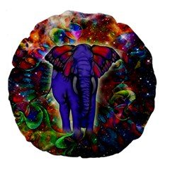 Abstract Elephant With Butterfly Ears Colorful Galaxy Large 18  Premium Flano Round Cushions
