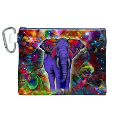 Abstract Elephant With Butterfly Ears Colorful Galaxy Canvas Cosmetic Bag (XL)
