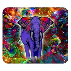 Abstract Elephant With Butterfly Ears Colorful Galaxy Double Sided Flano Blanket (small)