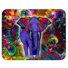 Abstract Elephant With Butterfly Ears Colorful Galaxy Double Sided Flano Blanket (medium)