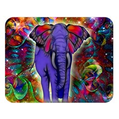 Abstract Elephant With Butterfly Ears Colorful Galaxy Double Sided Flano Blanket (large)