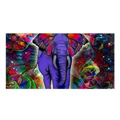Abstract Elephant With Butterfly Ears Colorful Galaxy Satin Shawl