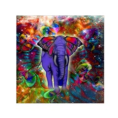 Abstract Elephant With Butterfly Ears Colorful Galaxy Small Satin Scarf (square)