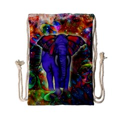 Abstract Elephant With Butterfly Ears Colorful Galaxy Drawstring Bag (small)
