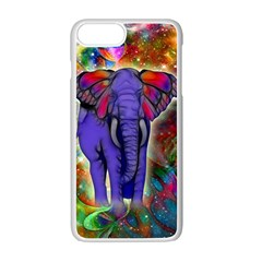 Abstract Elephant With Butterfly Ears Colorful Galaxy Apple Iphone 7 Plus White Seamless Case