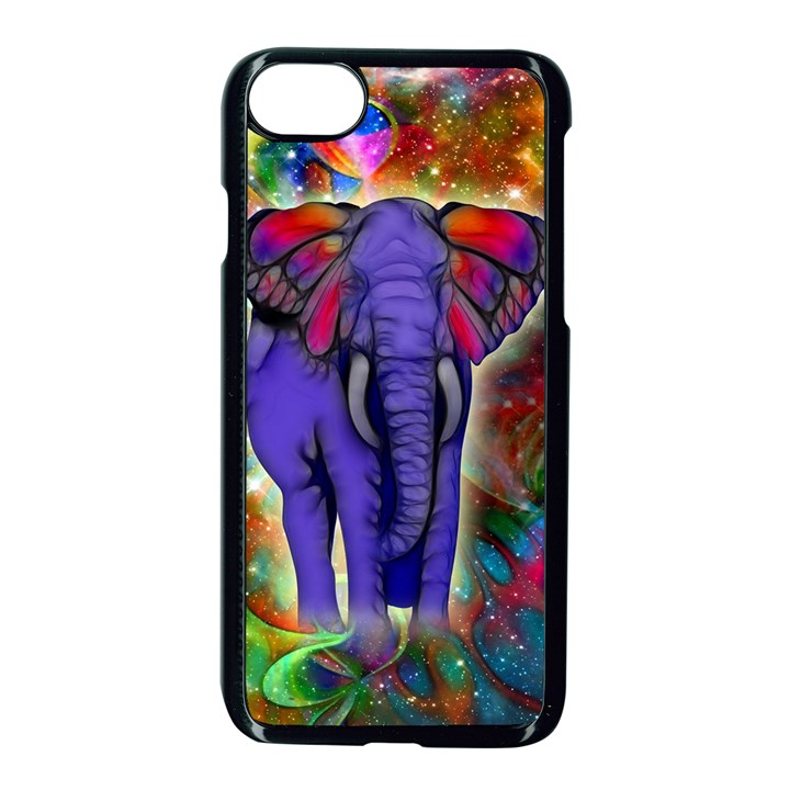 Abstract Elephant With Butterfly Ears Colorful Galaxy Apple iPhone 7 Seamless Case (Black)