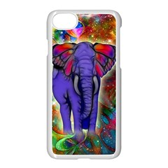 Abstract Elephant With Butterfly Ears Colorful Galaxy Apple Iphone 7 Seamless Case (white)