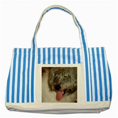 Old English Sheepdog Striped Blue Tote Bag