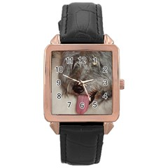 Old English Sheepdog Rose Gold Leather Watch