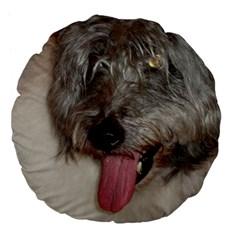 Old English Sheepdog Large 18  Premium Flano Round Cushions