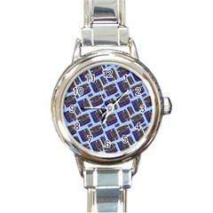 Abstract Pattern Seamless Artwork Round Italian Charm Watch