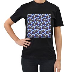 Abstract Pattern Seamless Artwork Women s T Shirt (black) (two Sided)