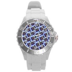 Abstract Pattern Seamless Artwork Round Plastic Sport Watch (l)