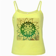 Mandalas Symmetry Meditation Round Yellow Spaghetti Tank