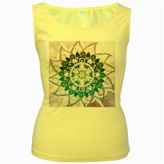Mandalas Symmetry Meditation Round Women s Yellow Tank Top