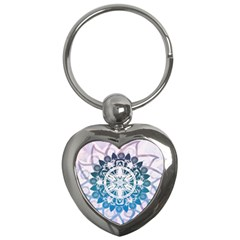 Mandalas Symmetry Meditation Round Key Chains (heart)