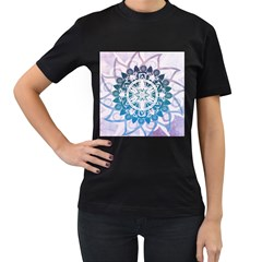 Mandalas Symmetry Meditation Round Women s T Shirt (black) (two Sided)
