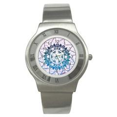 Mandalas Symmetry Meditation Round Stainless Steel Watch