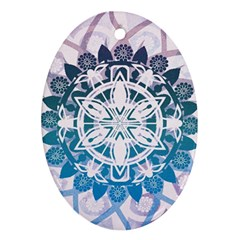 Mandalas Symmetry Meditation Round Oval Ornament (two Sides)
