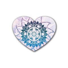Mandalas Symmetry Meditation Round Rubber Coaster (Heart)