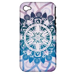 Mandalas Symmetry Meditation Round Apple Iphone 4/4s Hardshell Case (pc+silicone)